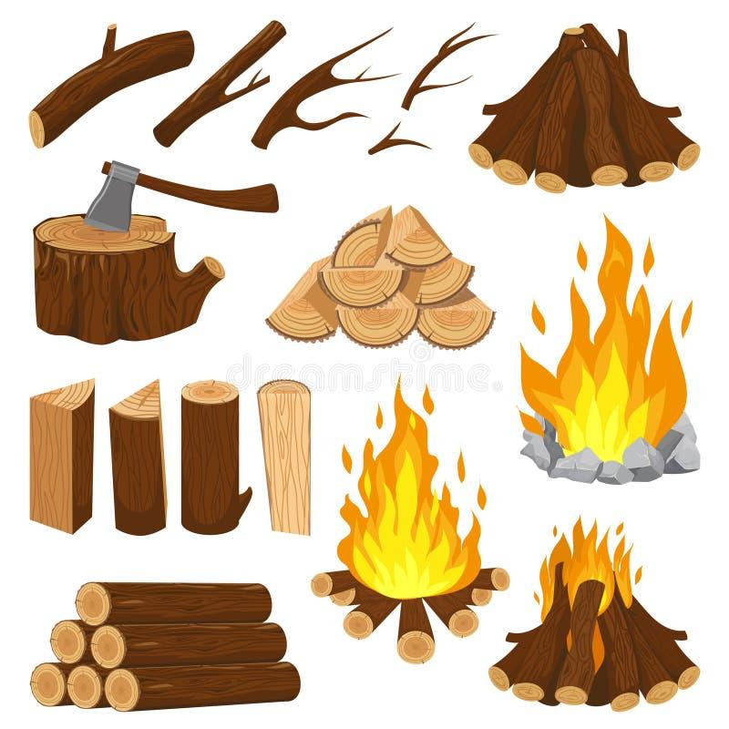 Łupek deski Graby pożarniczy drewno pali drewnianą stertę i płonie ognisko, Ognisko wyróbki stosu kreskówki wektor royalty ilustracja