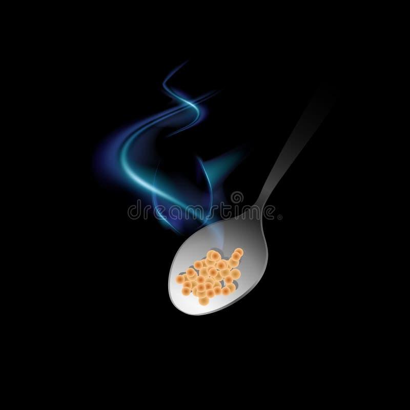 Łyżka z kontrparą wyłania się od ciemności i śpieszy się usta na czarnym tle Ikona gorący jedzenie Wektor Odizolowywający ilustracja wektor