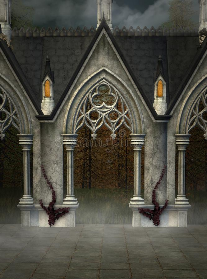 哥特式门户在一个有薄雾的秘密地方 皇族释放例证