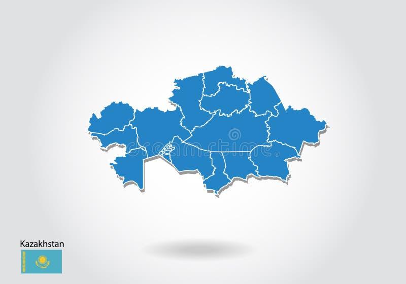 哈萨克斯坦与3D样式的地图设计 蓝色哈萨克斯坦地图和国旗 与等高,形状,概述的简单的传染媒介地图, 库存例证