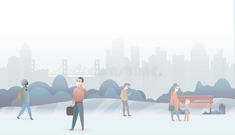 哀伤的人民遭受空气污染并且戴着防毒面具 工业白色烟雾雾城市背景 美好的尘土 向量例证