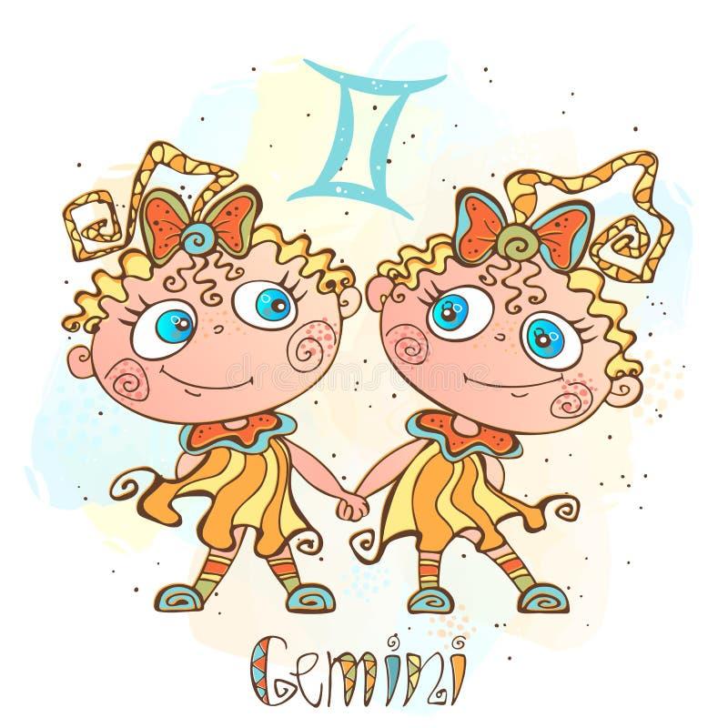 儿童` s占星象 孩子的黄道带 双子星座标志 向量 占星术标志当漫画人物 库存例证