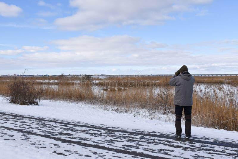 冬天季节的捕鸟的人 免版税库存照片