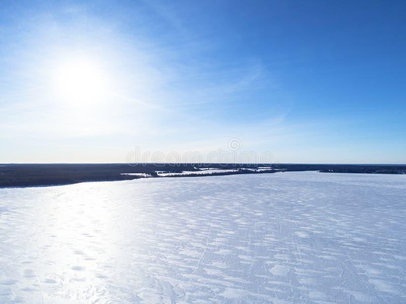 冬天积雪的杉木森林冬天森林纹理的鸟瞰图 鸟瞰图 冬天风景的空中寄生虫视图 Sno 免版税图库摄影