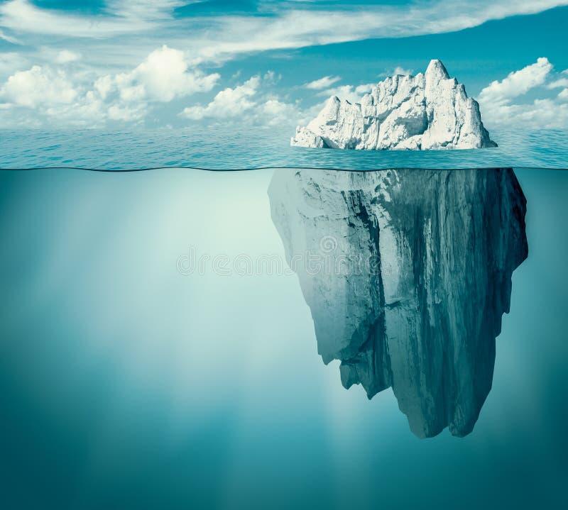 冰山在海洋或海 暗藏的威胁或危险概念 3d例证 库存例证