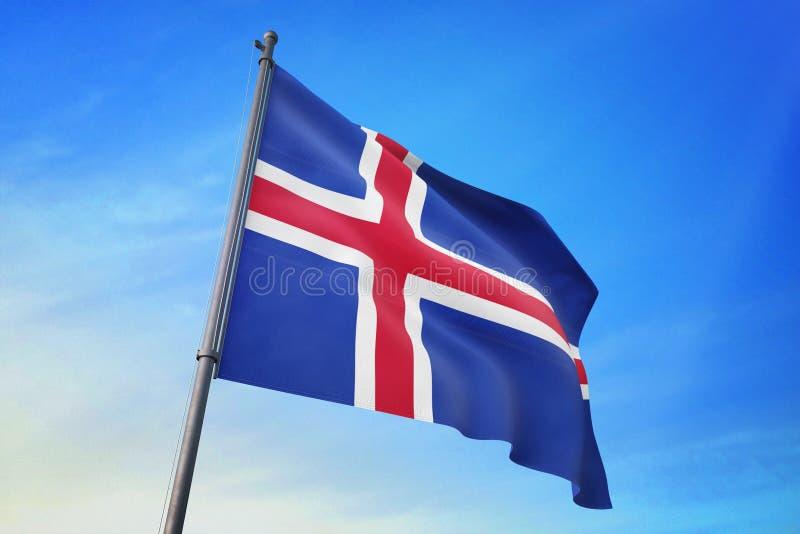 冰岛沙文主义情绪在天空蔚蓝3D例证 皇族释放例证