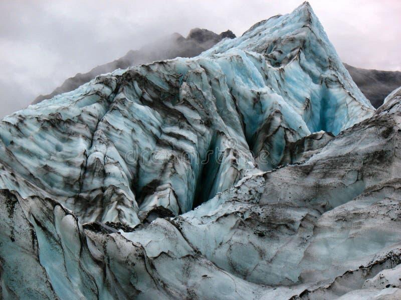 冰峰顶的看法在福克斯冰川,新西兰的 库存图片