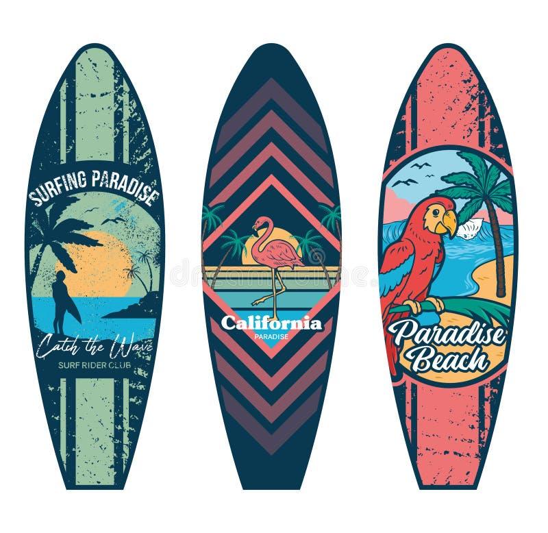 冲浪板设置了印刷品 皇族释放例证