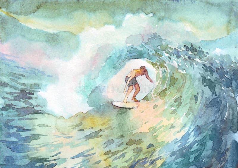 冲浪者人海洋水彩 皇族释放例证