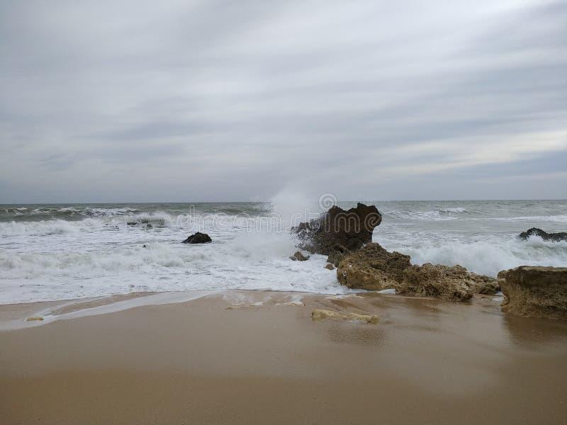冷的海洋力量和石头 库存图片