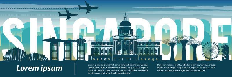 内新加坡著名地标剪影样式、文本,旅行和旅游业,蓝色音色题材 免版税库存照片