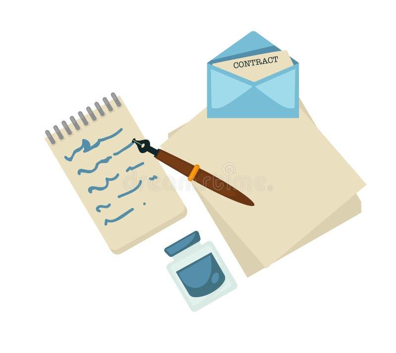 写作家草稿墨水和笔信件和笔记薄 向量例证