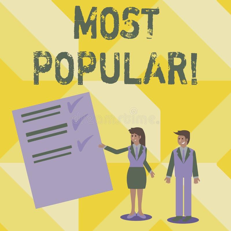 写最普遍的手写文本 概念意思顶面规定值畅销书喜爱的产品或艺术家第1在等级 向量例证
