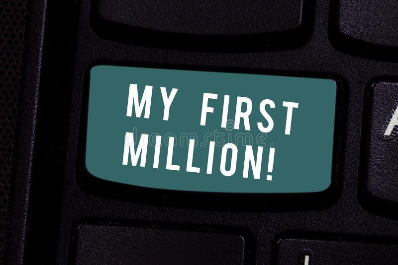 写显示我前百万的笔记 帮助您会集您的第一大现金的企业照片陈列的明细表 免版税库存图片