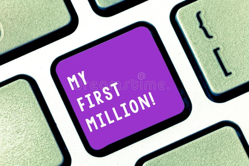 写显示我前百万的笔记 帮助您会集您的第一大现金的企业照片陈列的明细表 免版税图库摄影