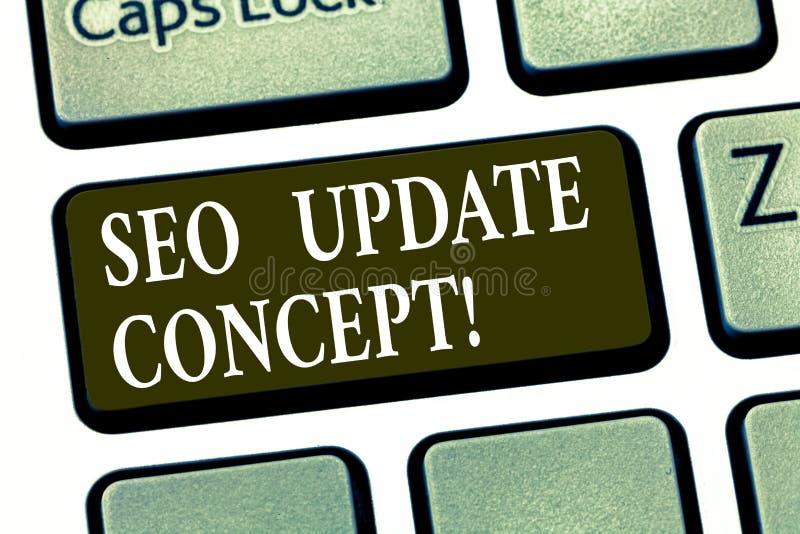 写显示Seo更新概念的笔记 陈列企业的照片改进网站或页的网上可见性  向量例证