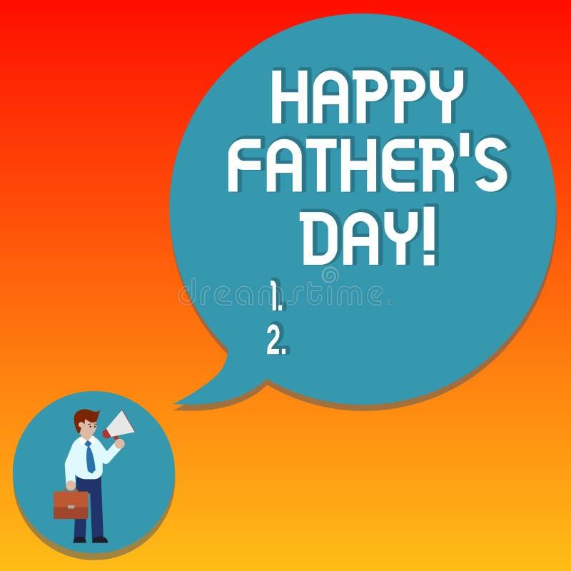 写愉快的父亲s的手写文本是天 概念纪念爸爸和庆祝父权人的意思庆祝  皇族释放例证
