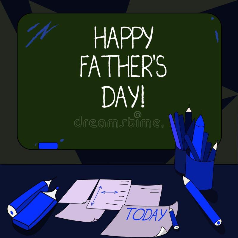 写愉快的父亲s的手写文本是天 概念纪念爸爸和庆祝父权登上的空白的意思庆祝 向量例证