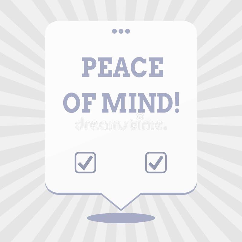 写文本心境的安宁的词 企业的概念为平安满意对您做了并且完成的事 皇族释放例证