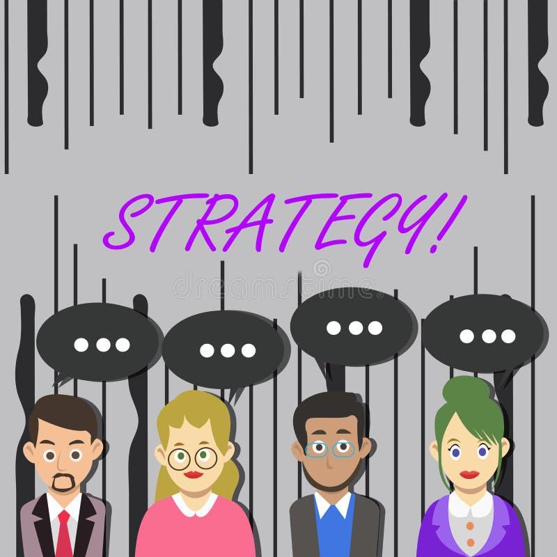 写文本战略的词 小组的企业概念想法计划达到成功 向量例证