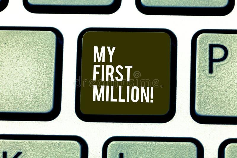写文本我前百万的词 帮助您会集您的第一大现金的明细表的企业概念 库存图片