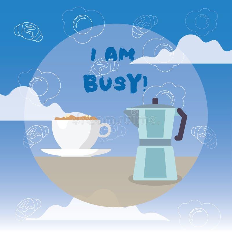 写文本我的词是繁忙的 有企业的概念为做很多的工作注重休闲的没有时间 向量例证