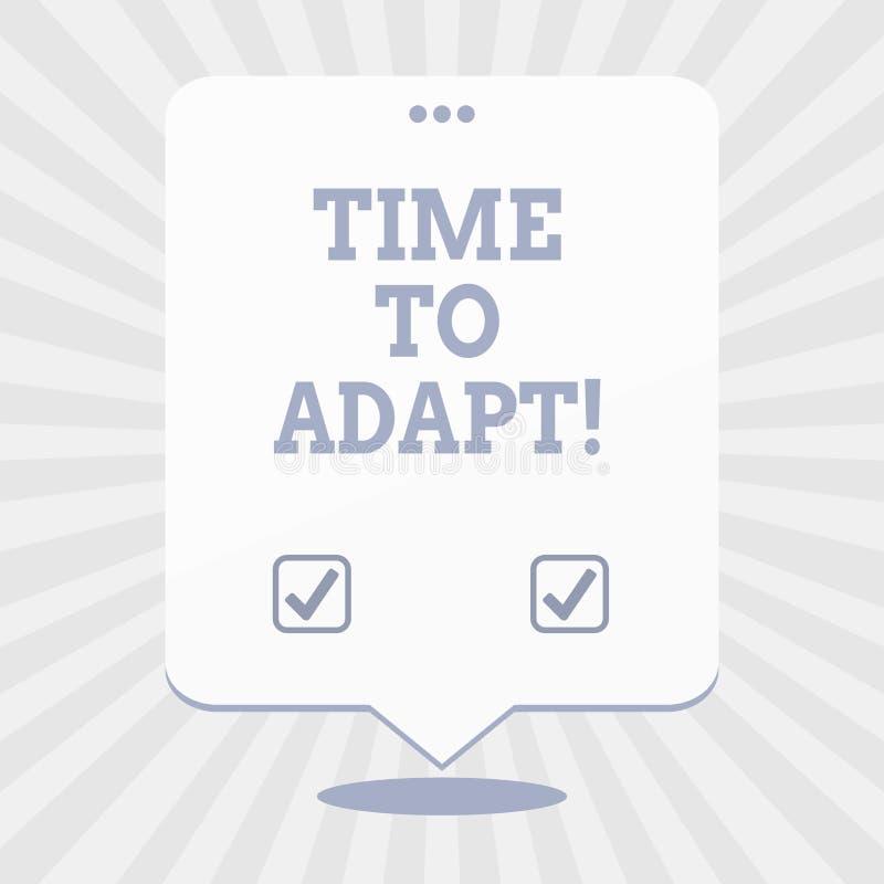 写文本时间的词适应 片刻的企业概念能调整自己对变动接受创新 向量例证