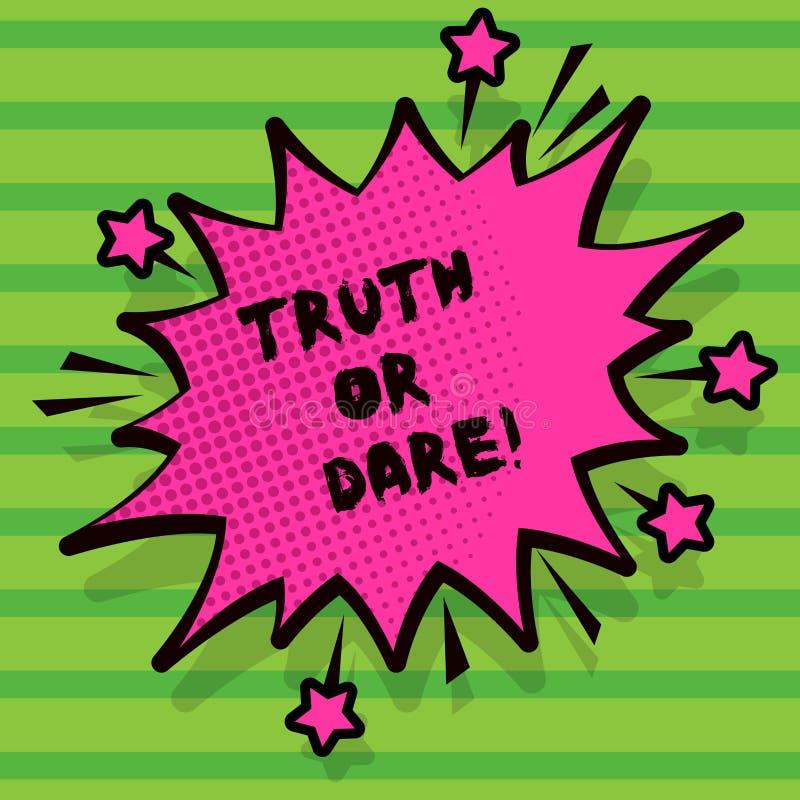 写文本真相或胆敢的词 企业概念为告诉实际事实或是愿意接受挑战 库存例证
