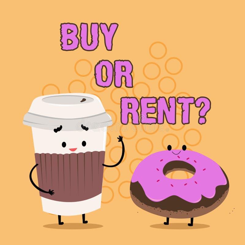 写文本购买或租的词 疑义的企业概念在拥有某事之间得到它被租赁的犹豫不决的 库存例证