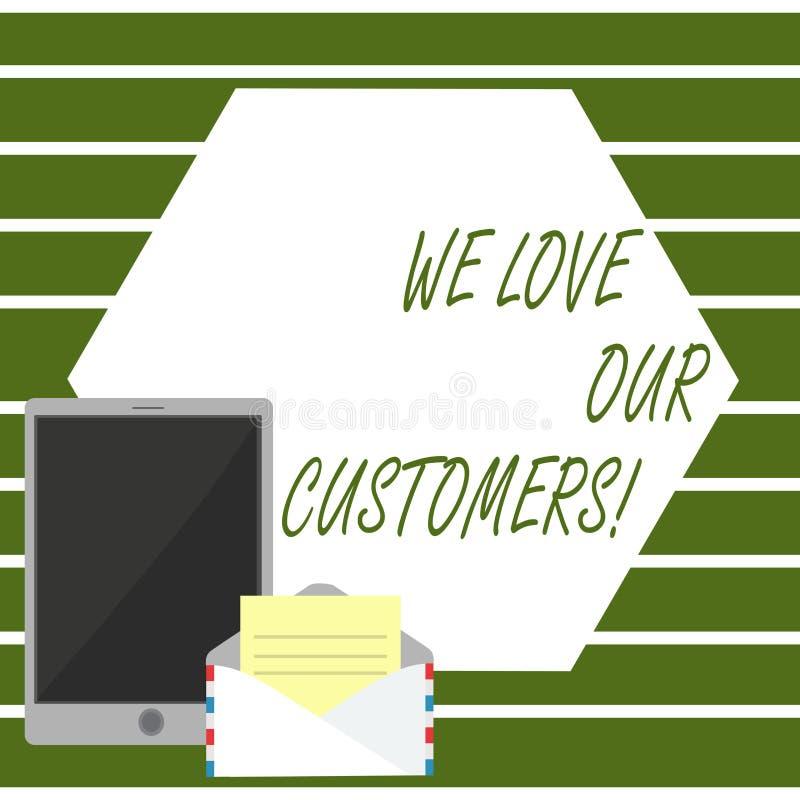 写笔记陈列我们爱我们的顾客 企业照片陈列的客户值得好服务满意尊敬 向量例证