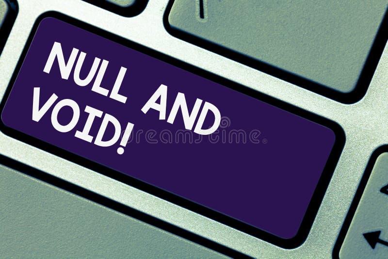写笔记showingNull和空隙 企业照片陈列的取消有的合同法律力量无效无效的键盘 图库摄影