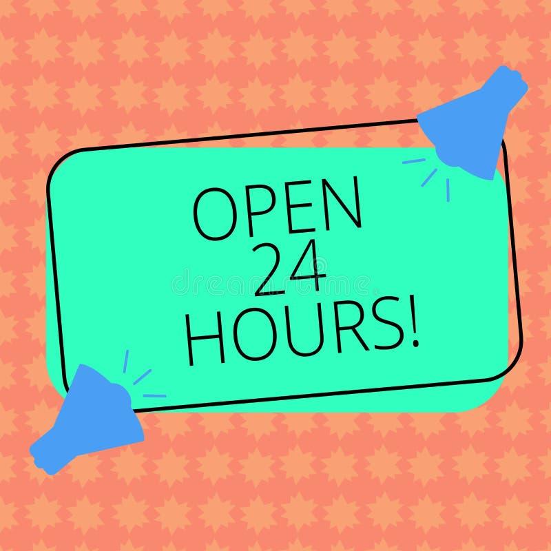 写笔记showingOpen 24个小时 总是操作两的企业照片陈列的运作的整天每天企业商店 向量例证