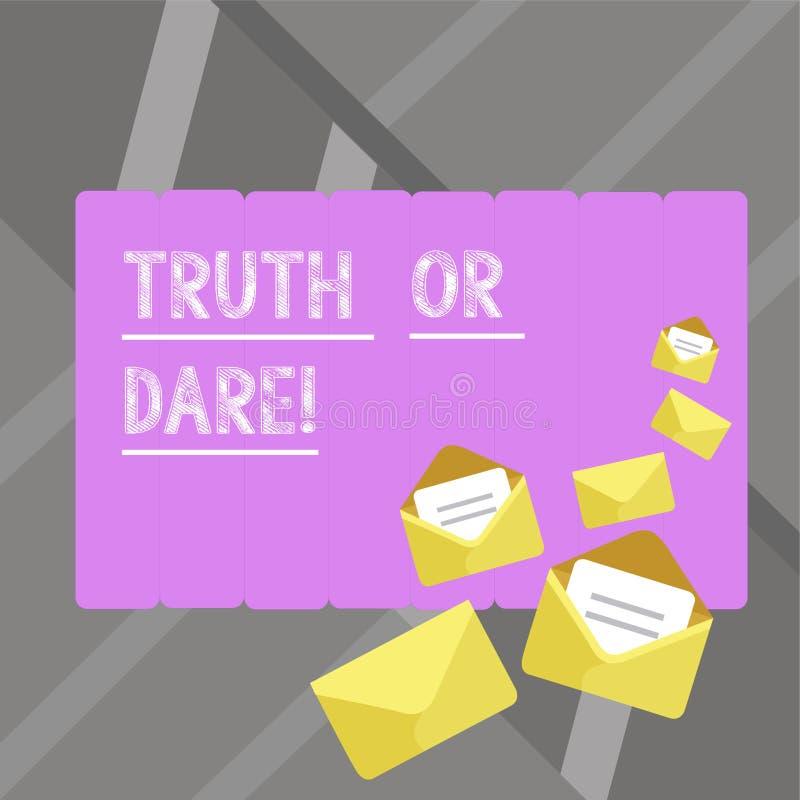 写笔记showingTruth或胆敢 企业照片陈列告诉实际事实或是愿意接受挑战 库存例证