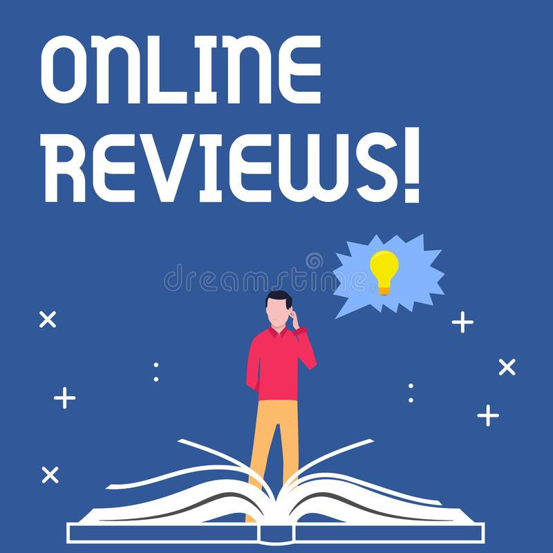 写网上回顾的手写文本 概念意思互联网评估用户额定值观点满意 库存例证