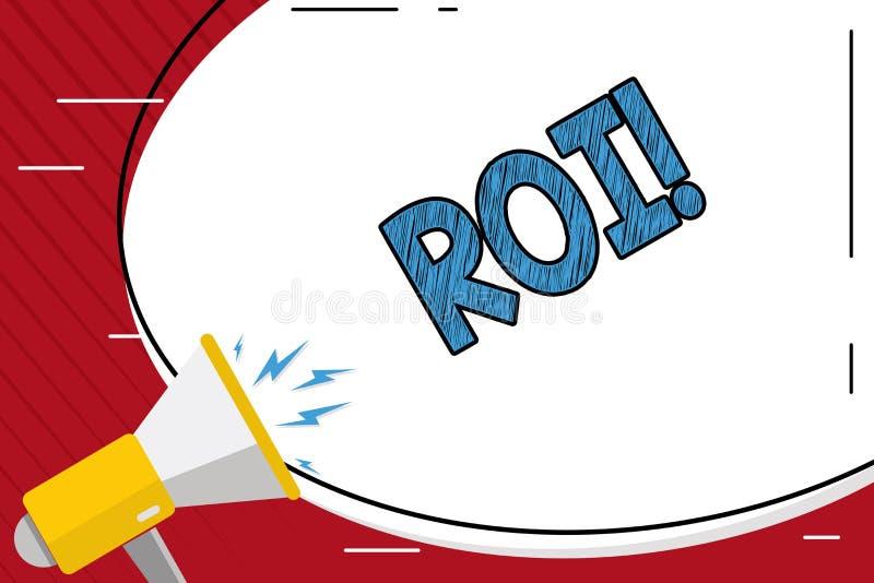写Roi的手写文本 意味在赢利Perforanalysisce事务的措施评估的概念回归 皇族释放例证