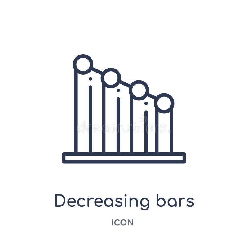 减少的长条图从用户界面概述汇集的象 稀薄的线在白色隔绝的减少的长条图象 皇族释放例证