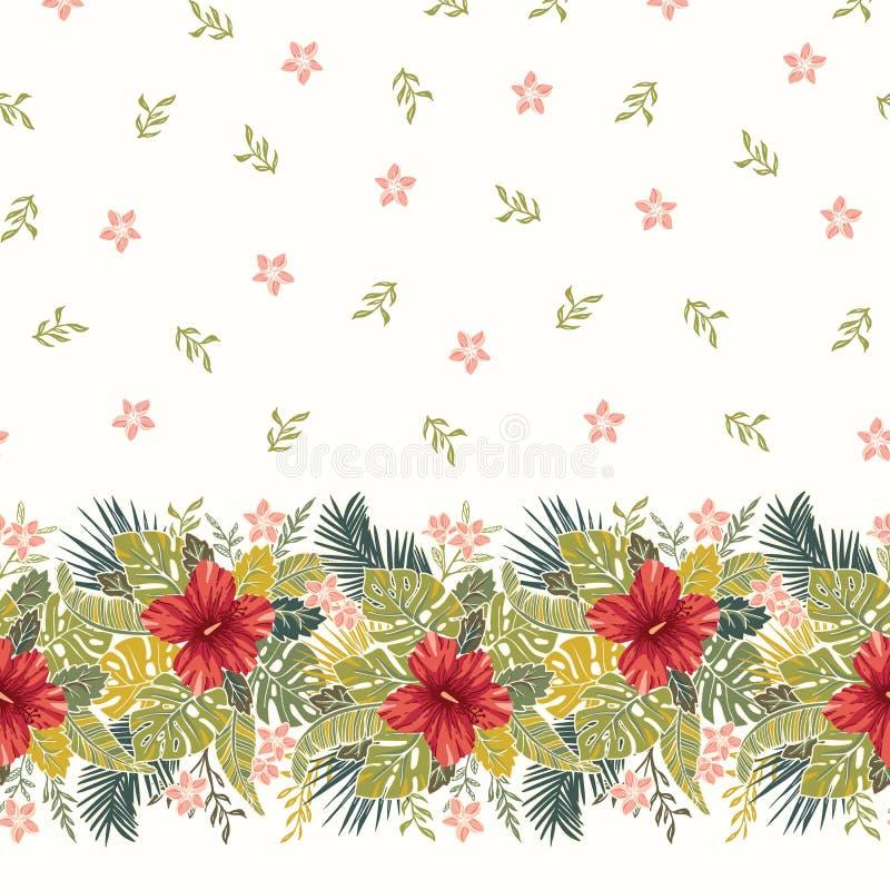 减速火箭的大胆的五颜六色的热带异乎寻常的叶子,木槿花卉水平的传染媒介无缝的边界和样式 向量例证