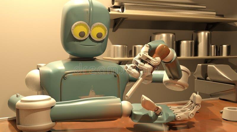 减速火箭的机器人修理他的手,3d翻译 库存例证