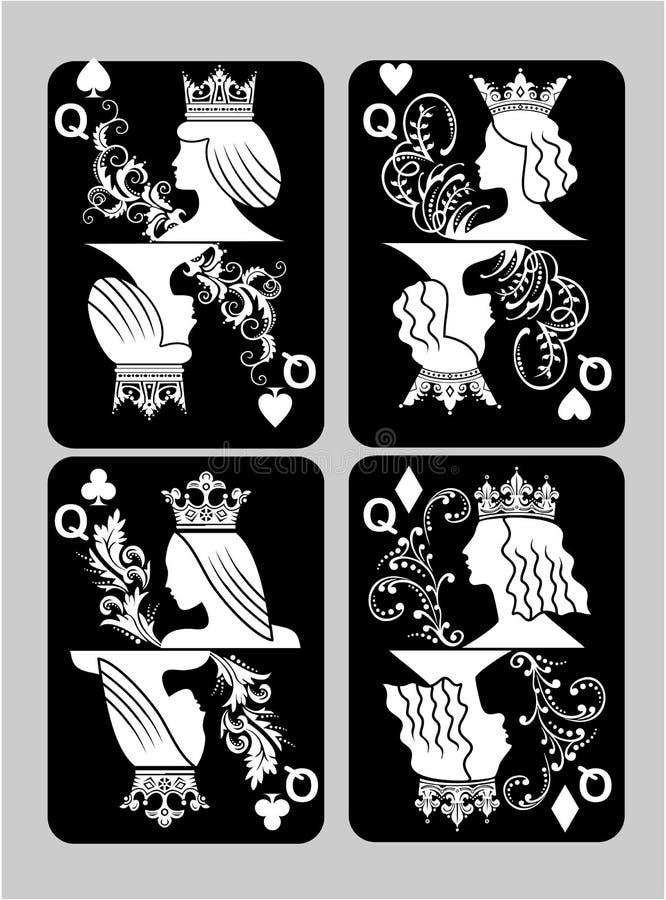 啤牌卡片女王/王后集合 免版税库存照片
