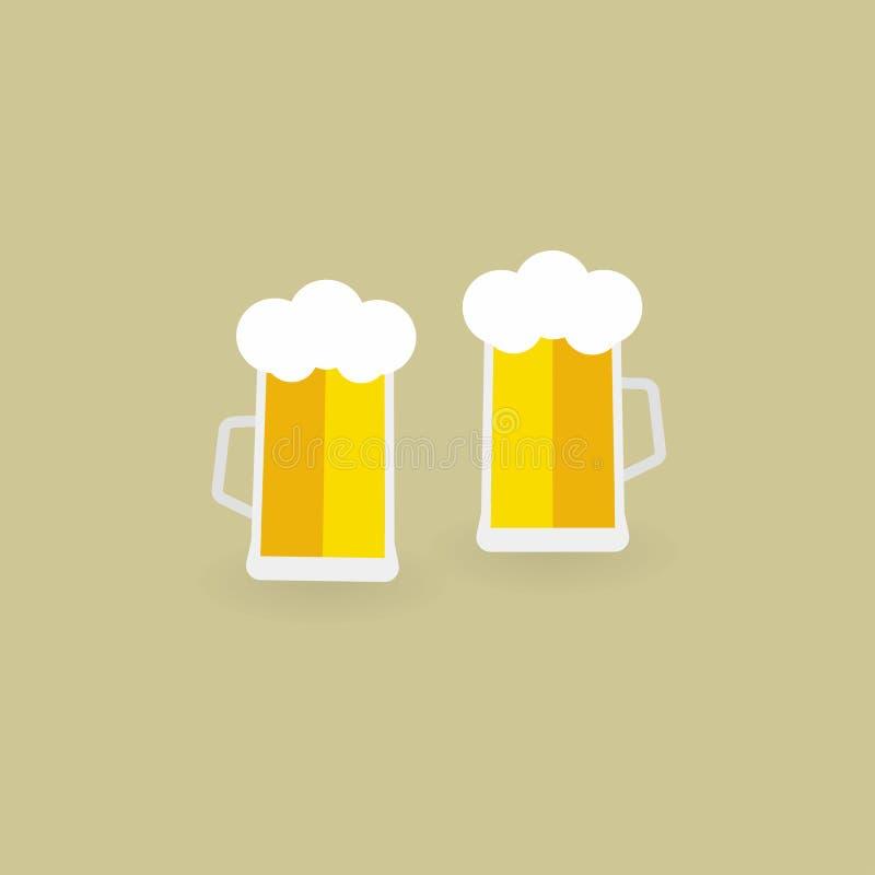 啤酒杯二 啤酒 也corel凹道例证向量 10 eps 皇族释放例证