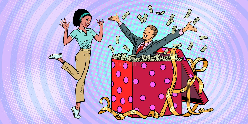 商人丈夫许多金钱节日礼物箱子 非洲妇女滑稽的反应喜悦 向量例证