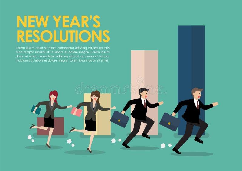 商人和妇女有新年决议的 库存例证