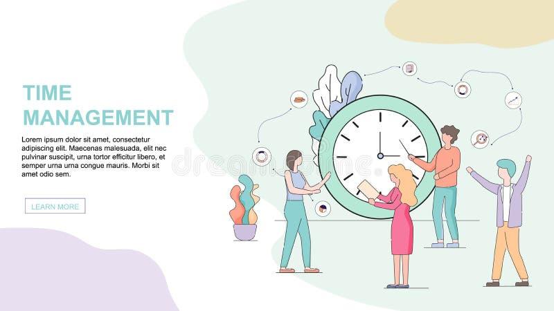 商人站立在大手表在办公室 向量例证