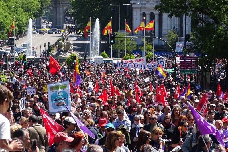 共产党的示范在马德里,西班牙 免版税库存照片