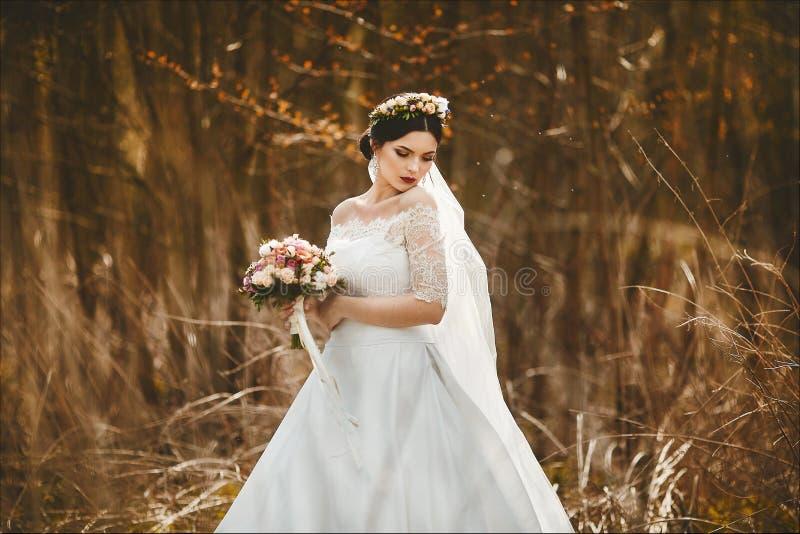 典雅和时兴的年轻深色的新娘有明亮的构成的和有在她的头的一个花卉花圈的在时髦的鞋带 库存照片