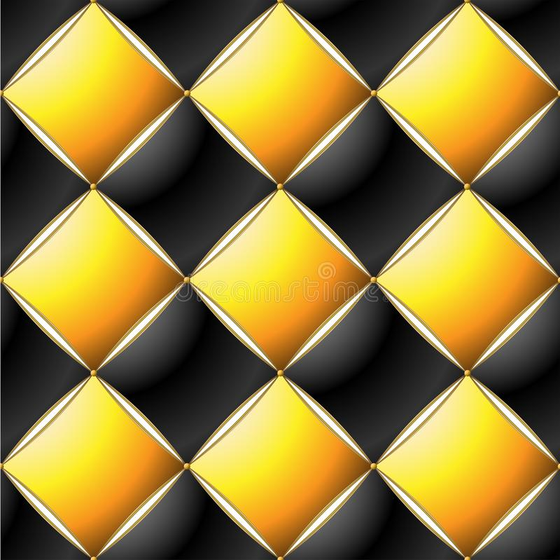 典雅的缝制的样式Vip黑色,黄色和金线背景  库存例证