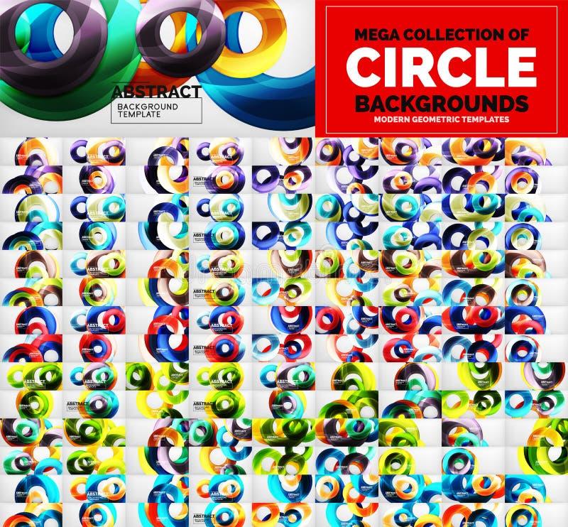 兆套各种各样的圈子几何抽象背景 抽象设计模板 向量例证