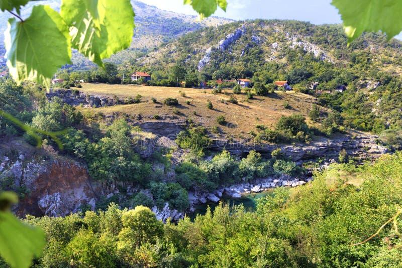 克服岩石岸和石急流在乡下中的山河的看法黑山的山的 免版税库存照片