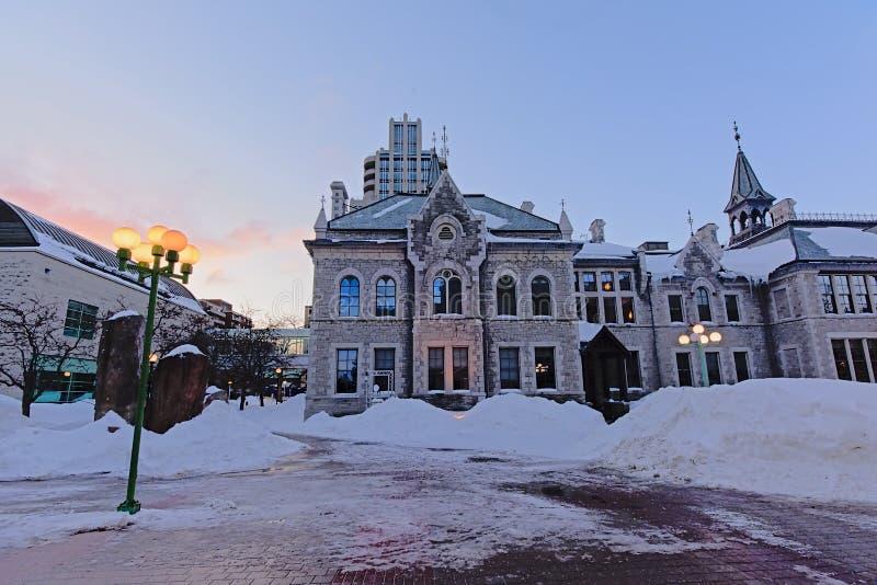 前渥太华师范学院在与现在s的一个寒冷冬天早晨在地板上 库存照片