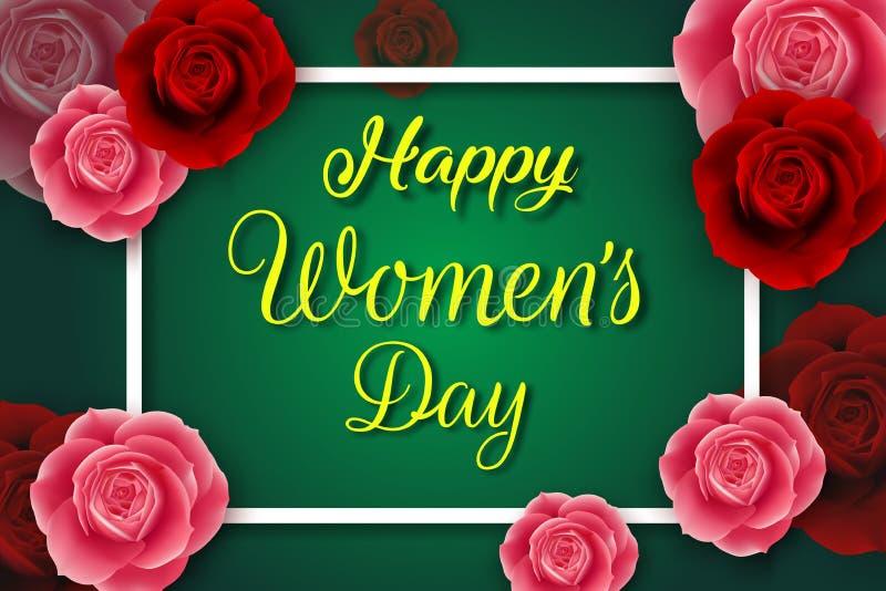 国际愉快的妇女的与红色和桃红色玫瑰的天海报 库存例证